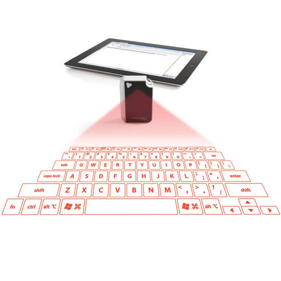 projected keyboard Our laser projection virtual keyboard transforms a flat surface into an instant work station so you can type up a storm any time you want.